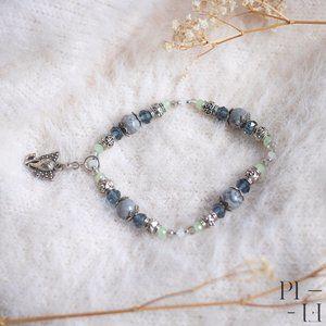 2/60$ bracelet natural grey japer gemstones